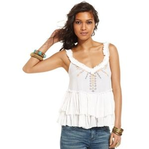 Free People Embroidered White Tiered Ruffle Blouse